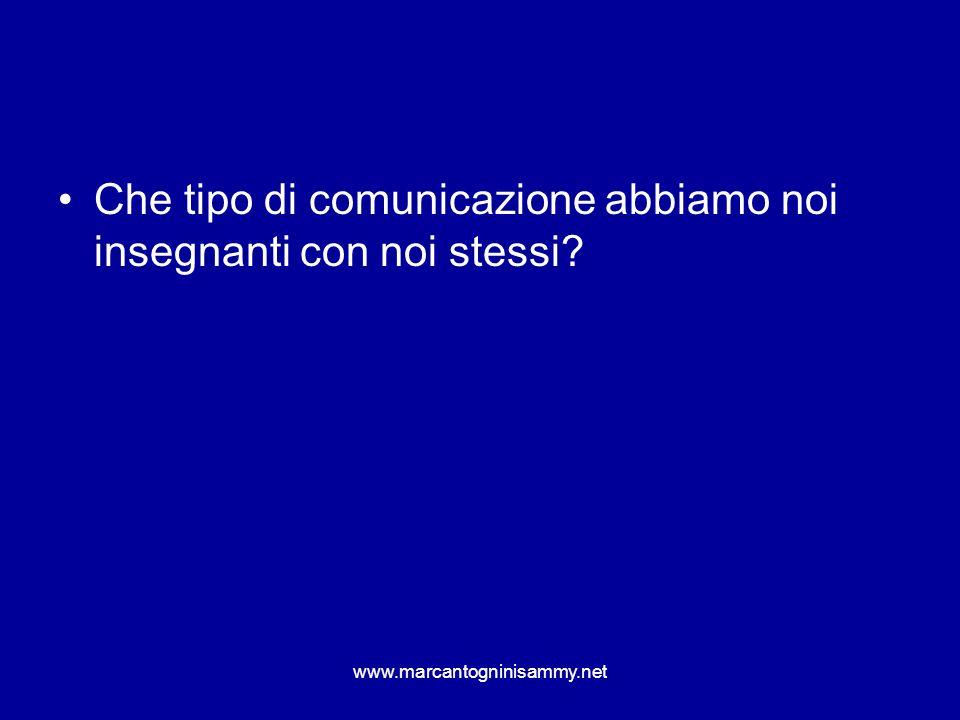 www.marcantogninisammy.net Che tipo di comunicazione abbiamo noi insegnanti con noi stessi?