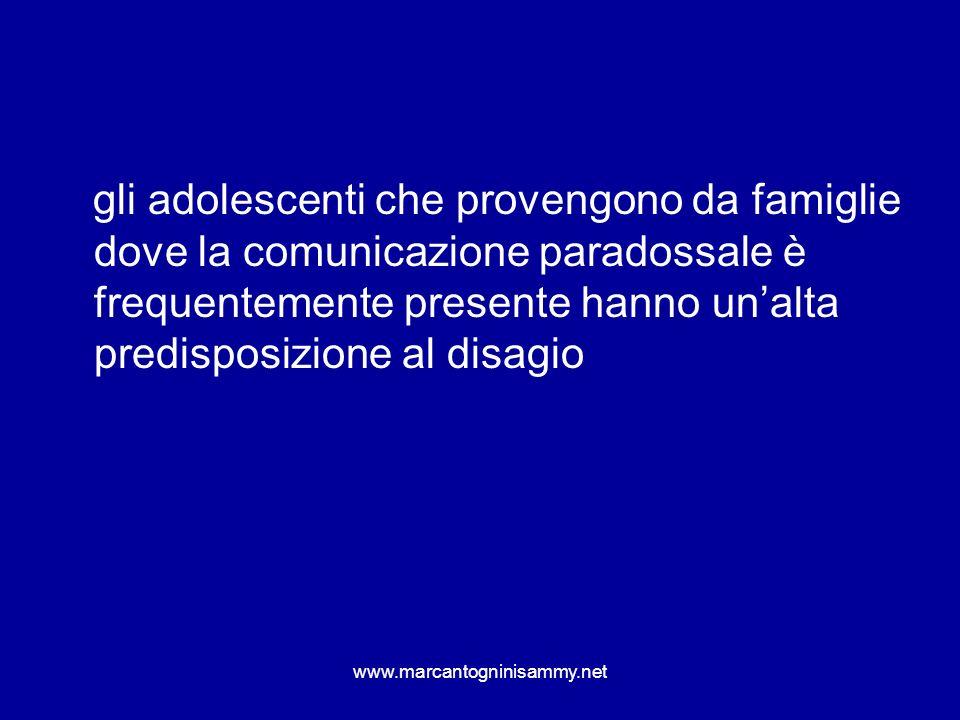 www.marcantogninisammy.net gli adolescenti che provengono da famiglie dove la comunicazione paradossale è frequentemente presente hanno unalta predisp