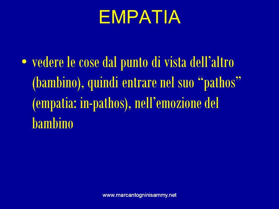 www.marcantogninisammy.net EMPATIA vedere le cose dal punto di vista dellaltro (bambino), quindi entrare nel suo pathos (empatia: in-pathos), nellemoz