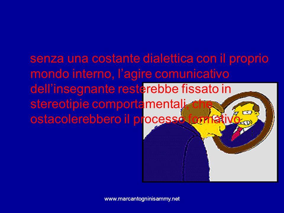 www.marcantogninisammy.net senza una costante dialettica con il proprio mondo interno, lagire comunicativo dellinsegnante resterebbe fissato in stereo