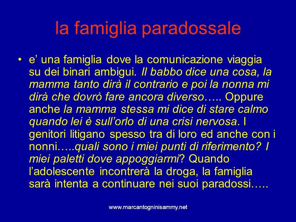 www.marcantogninisammy.net la famiglia paradossale e una famiglia dove la comunicazione viaggia su dei binari ambigui. Il babbo dice una cosa, la mamm
