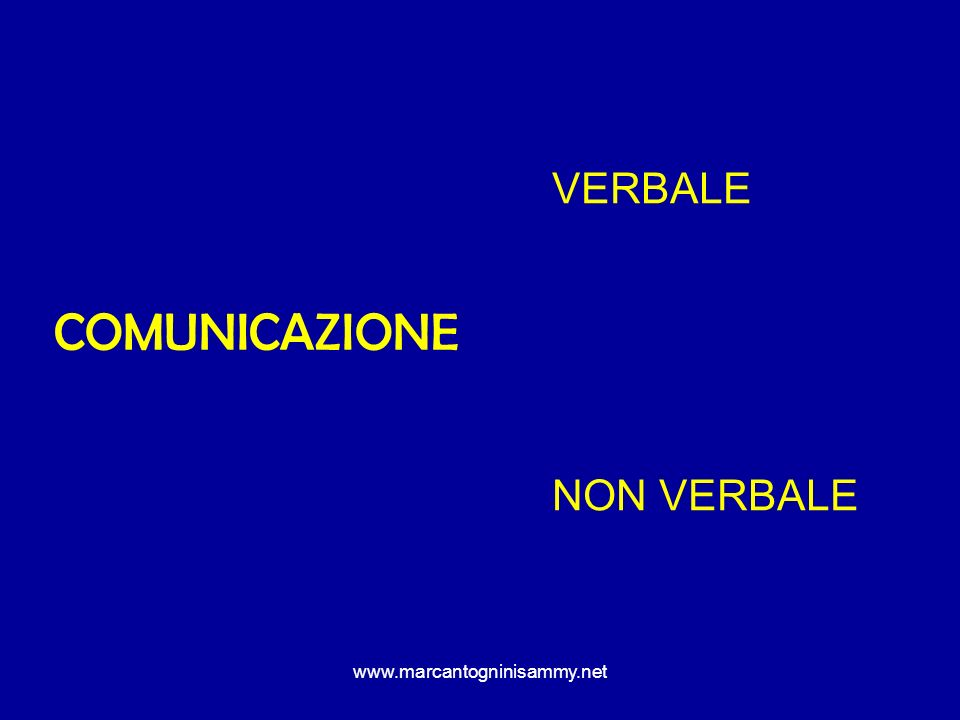 www.marcantogninisammy.net COMUNICAZIONE VERBALE LINGUAGGIO