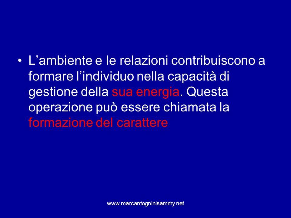Lambiente e le relazioni contribuiscono a formare lindividuo nella capacità di gestione della sua energia. Questa operazione può essere chiamata la fo