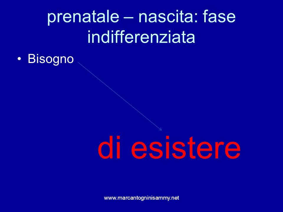 prenatale – nascita: fase indifferenziata Bisogno di esistere www.marcantogninisammy.net