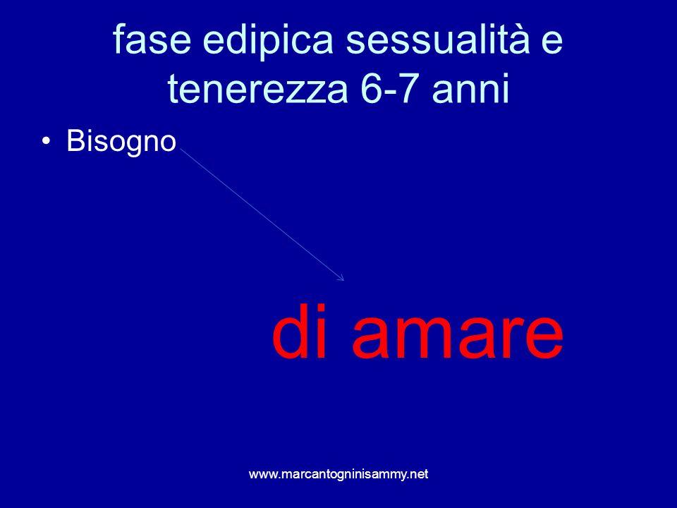 fase edipica sessualità e tenerezza 6-7 anni Bisogno di amare www.marcantogninisammy.net