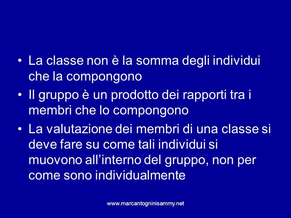 La classe non è la somma degli individui che la compongono Il gruppo è un prodotto dei rapporti tra i membri che lo compongono La valutazione dei memb