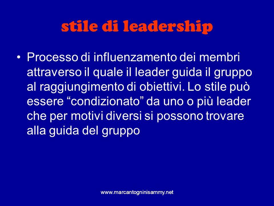 stile di leadership Processo di influenzamento dei membri attraverso il quale il leader guida il gruppo al raggiungimento di obiettivi. Lo stile può e