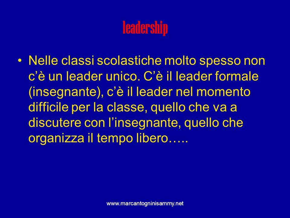 leadership Nelle classi scolastiche molto spesso non cè un leader unico. Cè il leader formale (insegnante), cè il leader nel momento difficile per la