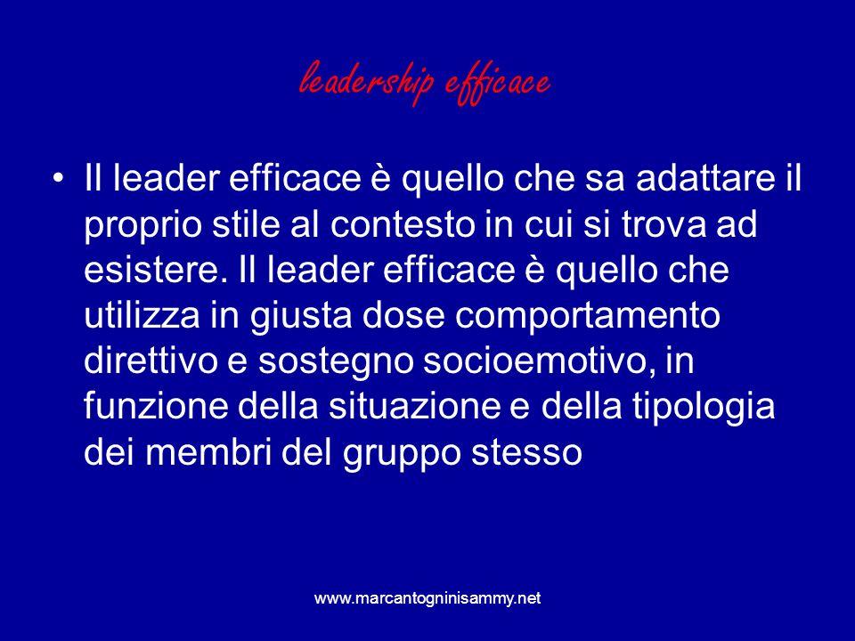leadership efficace Il leader efficace è quello che sa adattare il proprio stile al contesto in cui si trova ad esistere. Il leader efficace è quello