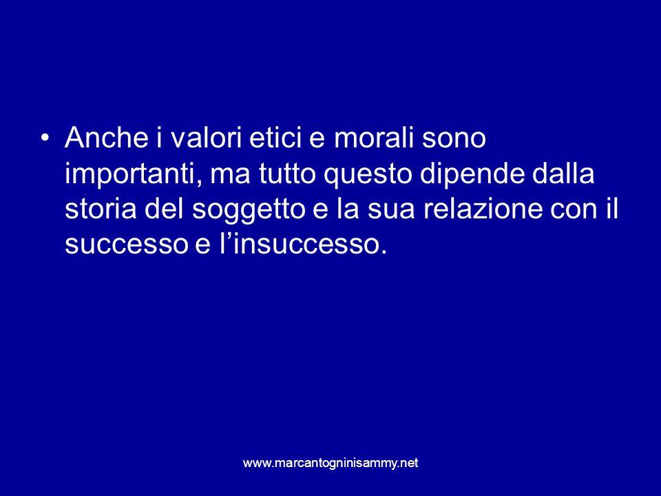 Anche i valori etici e morali sono importanti, ma tutto questo dipende dalla storia del soggetto e la sua relazione con il successo e linsuccesso. www