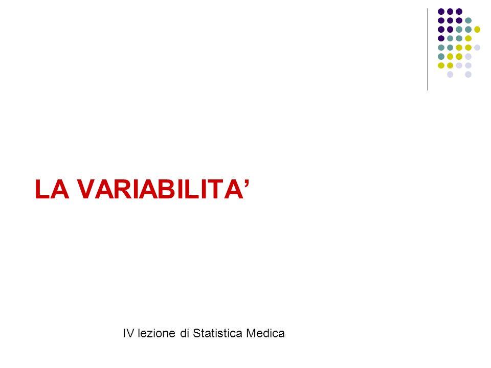 LA VARIABILITA IV lezione di Statistica Medica