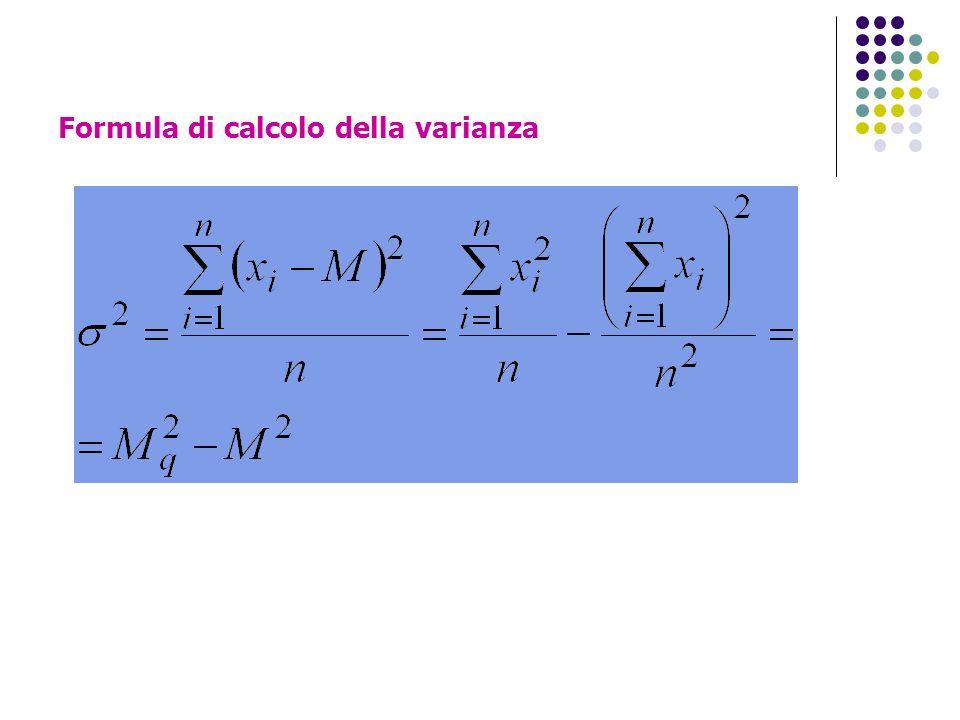 Formula di calcolo della varianza