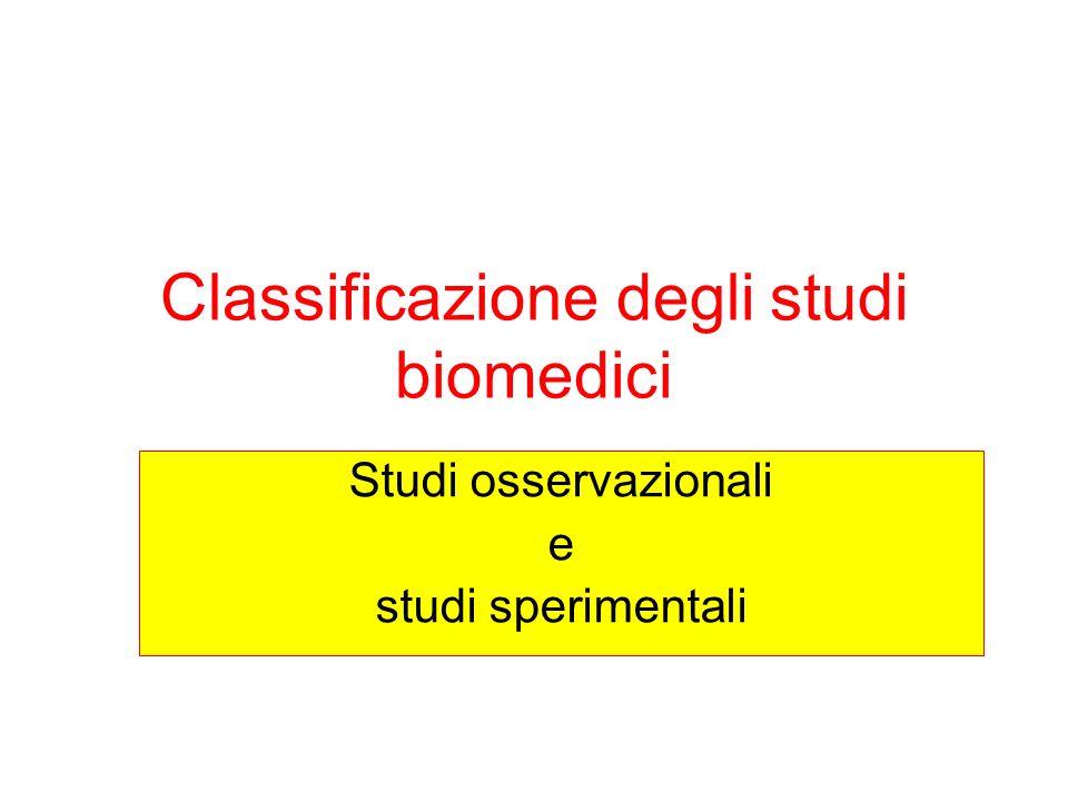 Classificazione degli studi biomedici Studi osservazionali e studi sperimentali