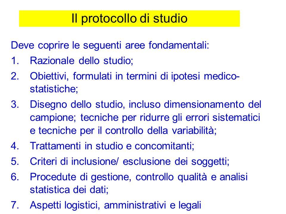 Il protocollo di studio Deve coprire le seguenti aree fondamentali: 1.Razionale dello studio; 2.Obiettivi, formulati in termini di ipotesi medico- sta