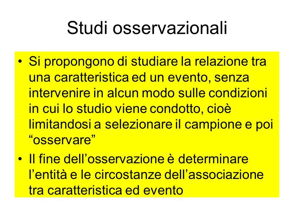 Studi osservazionali Si propongono di studiare la relazione tra una caratteristica ed un evento, senza intervenire in alcun modo sulle condizioni in c