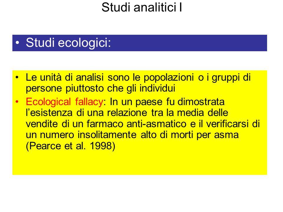 Studi analitici I Studi ecologici: Le unità di analisi sono le popolazioni o i gruppi di persone piuttosto che gli individui Ecological fallacy: In un