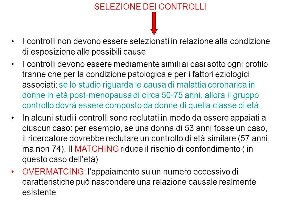 SELEZIONE DEI CONTROLLI I controlli non devono essere selezionati in relazione alla condizione di esposizione alle possibili cause I controlli devono
