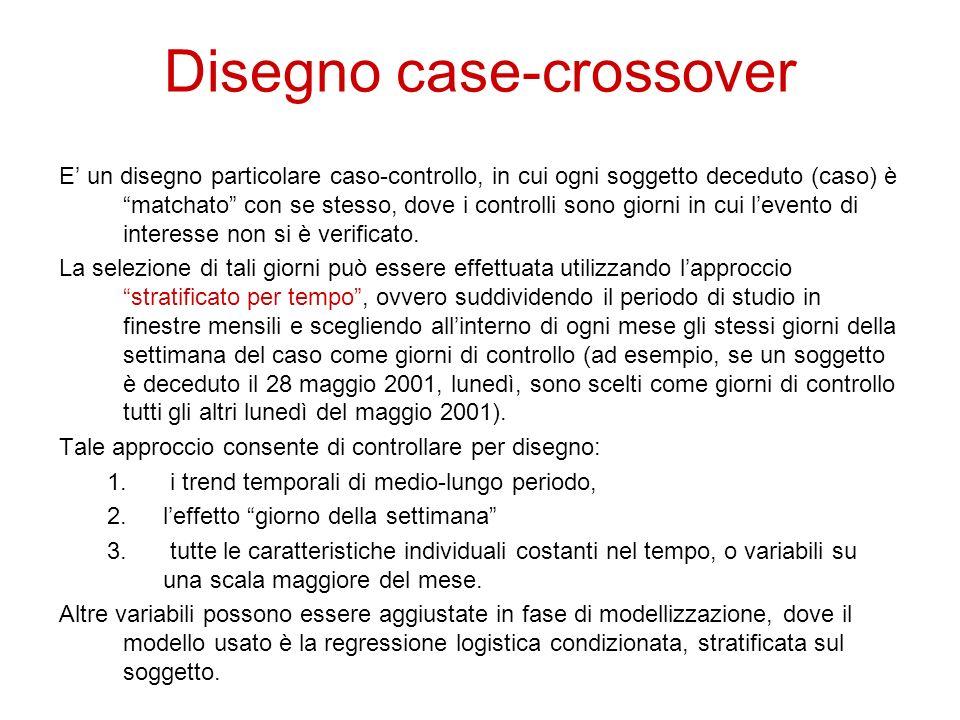 Disegno case-crossover E un disegno particolare caso-controllo, in cui ogni soggetto deceduto (caso) è matchato con se stesso, dove i controlli sono g