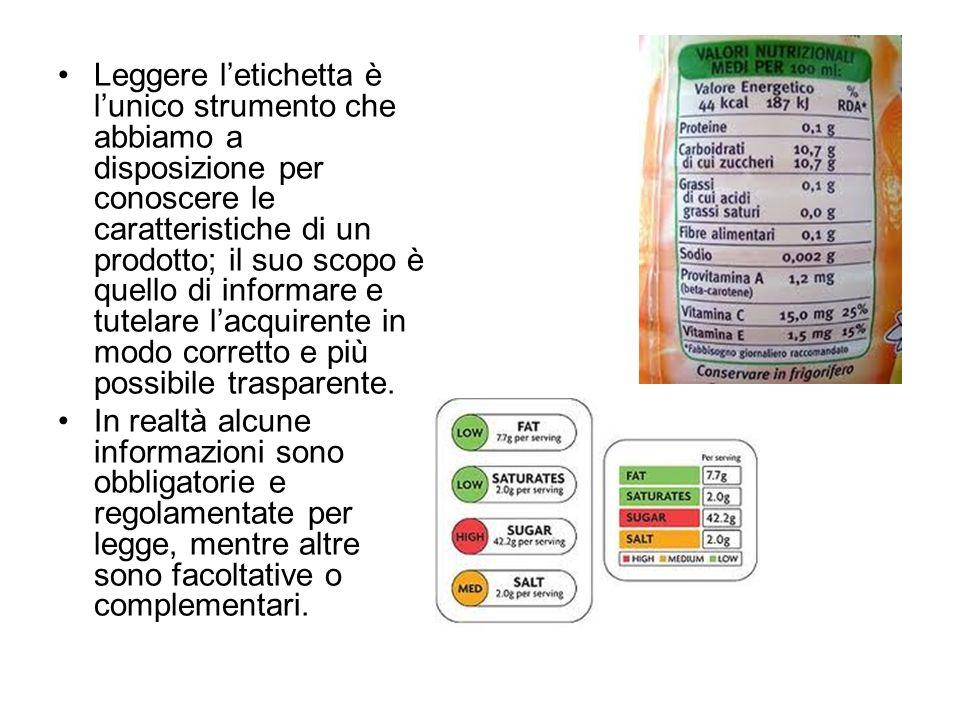 Dal 1982 per legge letichetta deve riportare lelenco degli ingredienti con nome specifico leggibile.