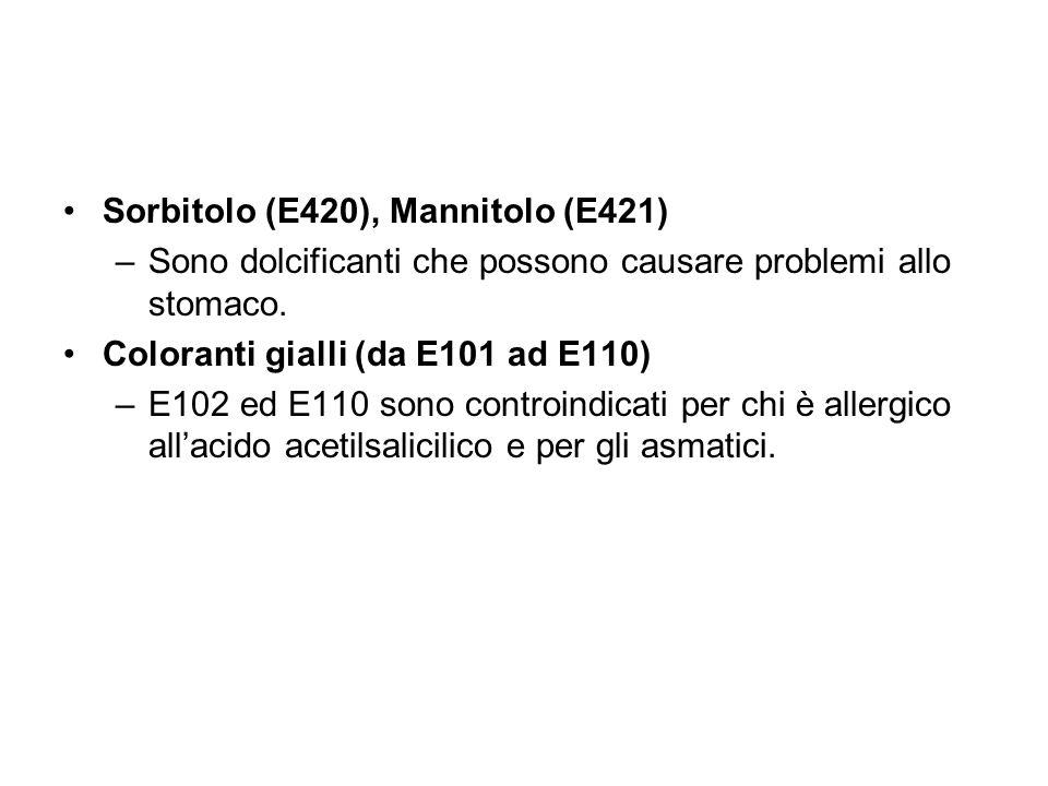 Sorbitolo (E420), Mannitolo (E421) –Sono dolcificanti che possono causare problemi allo stomaco. Coloranti gialli (da E101 ad E110) –E102 ed E110 sono