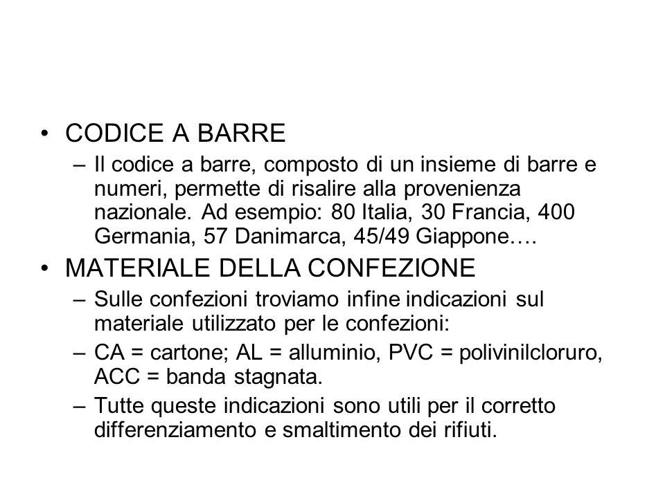 CODICE A BARRE –Il codice a barre, composto di un insieme di barre e numeri, permette di risalire alla provenienza nazionale. Ad esempio: 80 Italia, 3