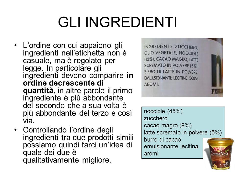 GLI INGREDIENTI Lordine con cui appaiono gli ingredienti nelletichetta non è casuale, ma è regolato per legge. In particolare gli ingredienti devono c