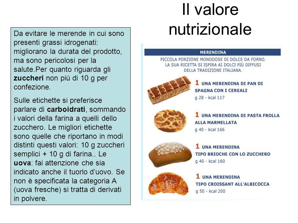 Il valore nutrizionale Da evitare le merende in cui sono presenti grassi idrogenati: migliorano la durata del prodotto, ma sono pericolosi per la salu