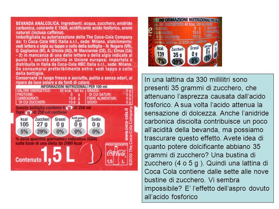 In una lattina da 330 millilitri sono presenti 35 grammi di zucchero, che attenuano lasprezza causata dallacido fosforico. A sua volta lacido attenua