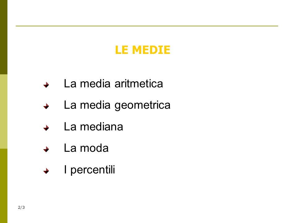 2/3 LE MEDIE La media aritmetica La media geometrica La mediana La moda I percentili