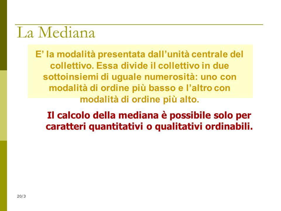 20/3 E la modalità presentata dallunità centrale del collettivo. Essa divide il collettivo in due sottoinsiemi di uguale numerosità: uno con modalità