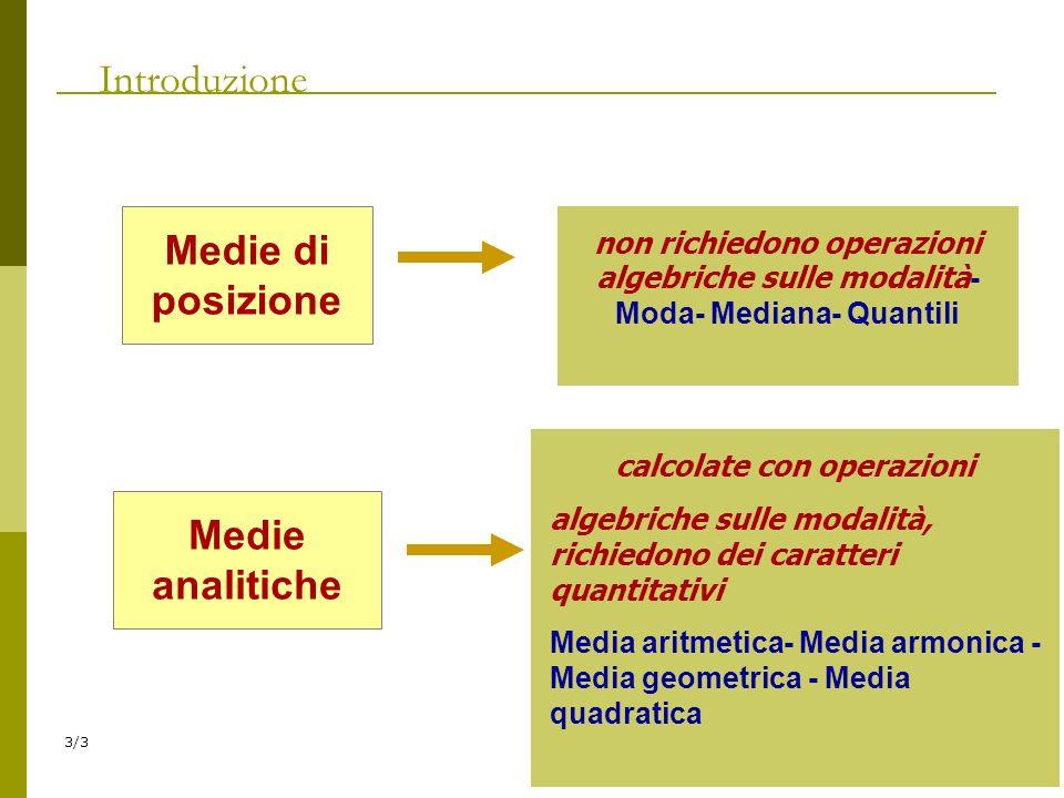 3/3 Introduzione Medie di posizione non richiedono operazioni algebriche sulle modalità - Moda- Mediana- Quantili Medie analitiche calcolate con opera