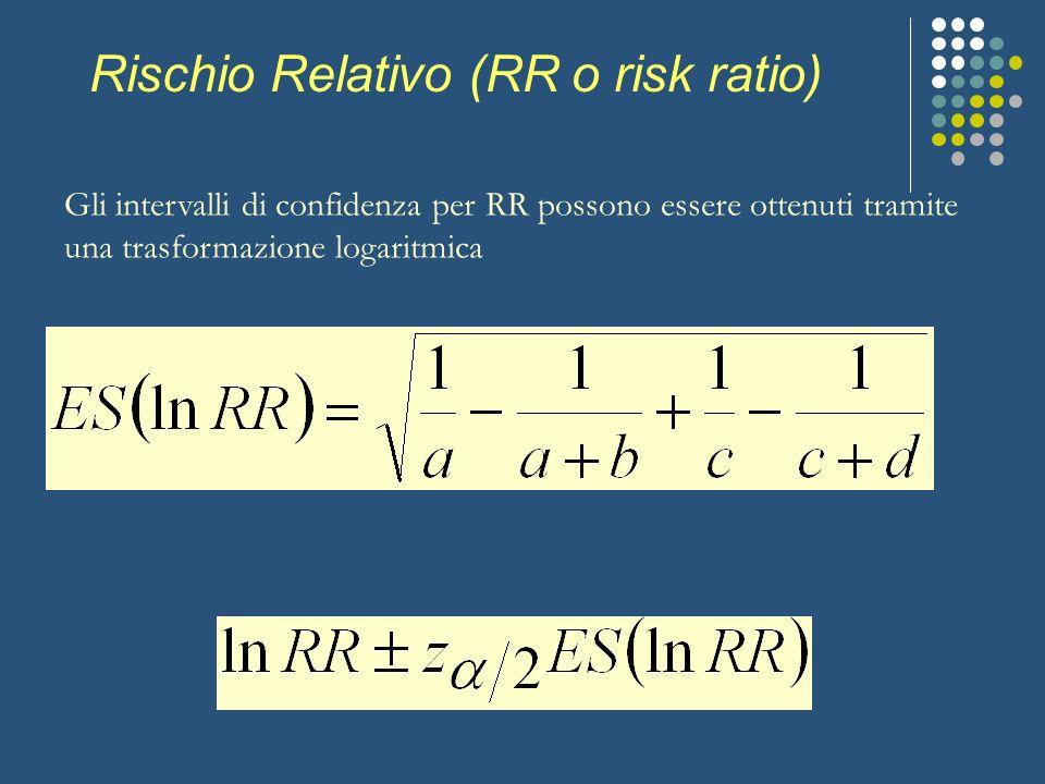 Rischio Relativo (RR o risk ratio) Gli intervalli di confidenza per RR possono essere ottenuti tramite una trasformazione logaritmica