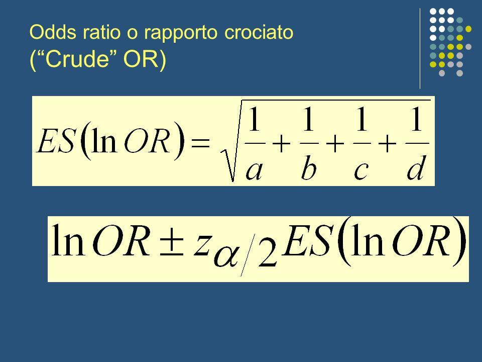 Odds ratio o rapporto crociato (Crude OR)