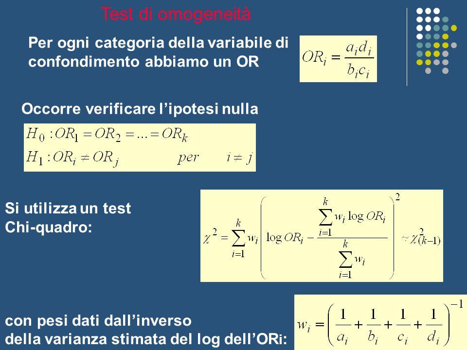 Per ogni categoria della variabile di confondimento abbiamo un OR Occorre verificare lipotesi nulla Si utilizza un test Chi-quadro: con pesi dati dall