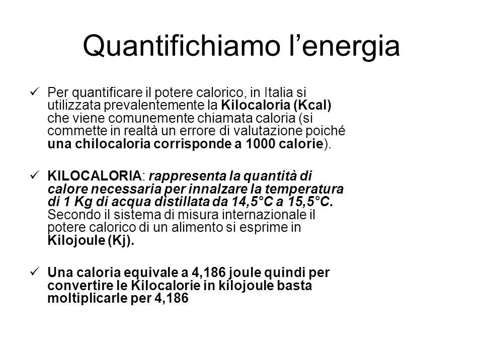 Quantifichiamo lenergia Per quantificare il potere calorico, in Italia si utilizzata prevalentemente la Kilocaloria (Kcal) che viene comunemente chiamata caloria (si commette in realtà un errore di valutazione poiché una chilocaloria corrisponde a 1000 calorie).