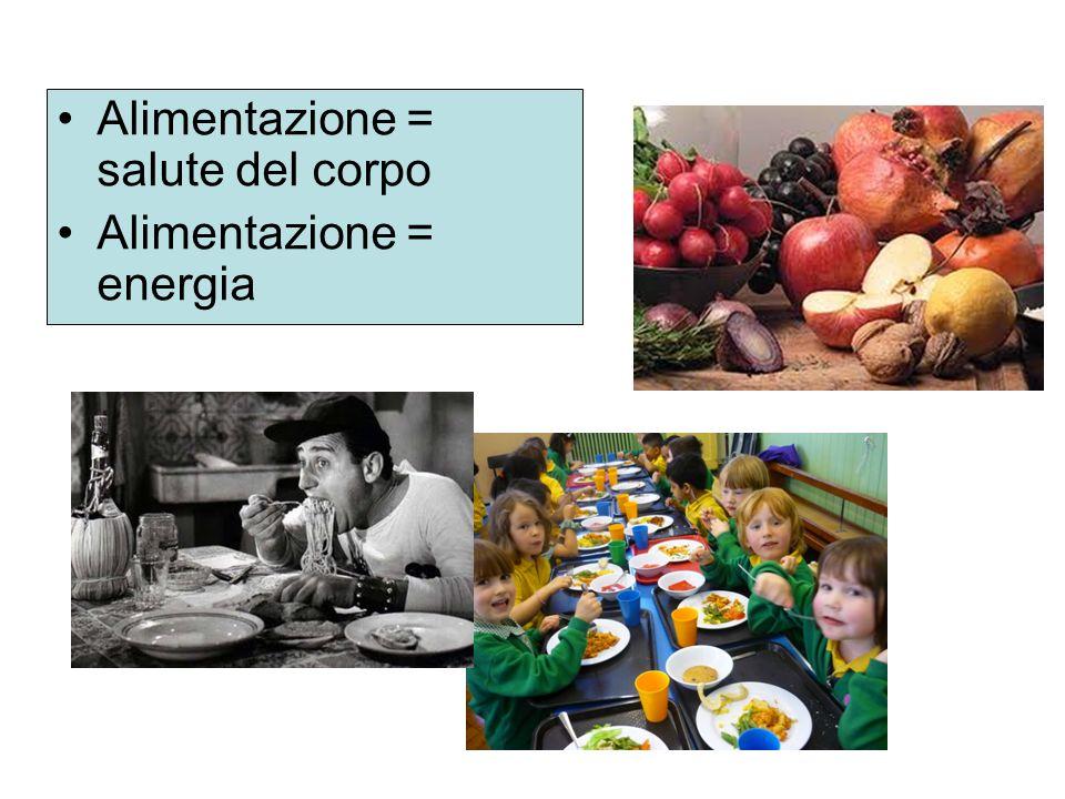 Alimentazione = salute del corpo Alimentazione = energia