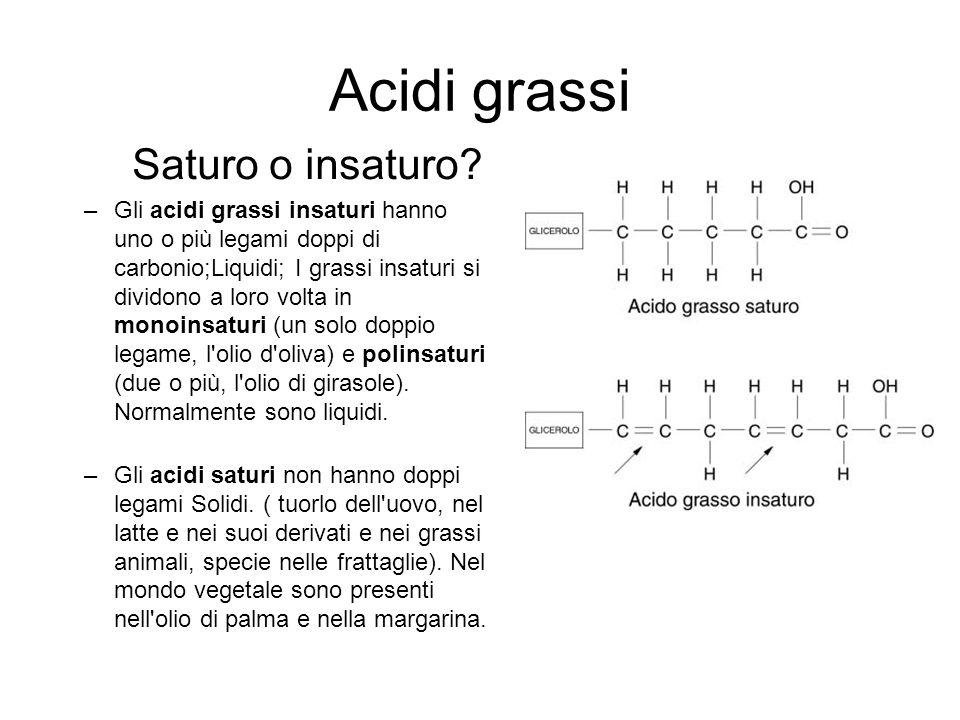 Acidi grassi Saturo o insaturo.