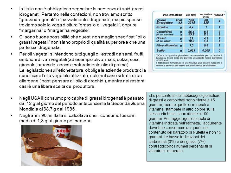 Buoni e cattivi Olii VegetaliOlii Tropicali Olio di Cartamo 9%Olio di Palma 49% Olio di Girasole 10% Olio di Cuore di Palma 82% Olio di Canola 12%Olio di Cocco 87% Olio di Grano 13% Olio d Oliva 13% Olio di Sesamo 14% Olio di Soia 15% Olio di Arachidi 17% Olio di Semi di Cotone 26% Pertanto, anche nei prodotti vegetali andrà accuratamente letta l etichetta alla ricerca dei seguenti ingredienti: 1.olii vegetali -non meglio specificati 2.olii vegetali non idrogenati 3.margarina 4.olio di palma o di cuore di palma 5.olio di cocco