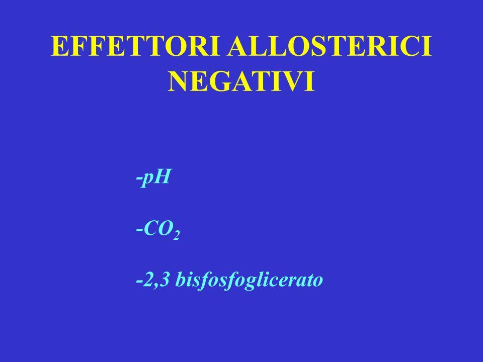 EFFETTORI ALLOSTERICI NEGATIVI -pH -CO 2 -2,3 bisfosfoglicerato