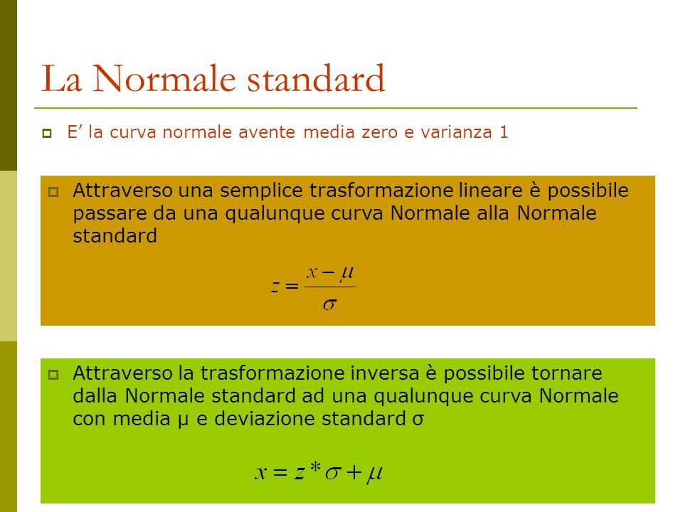 Attraverso una semplice trasformazione lineare è possibile passare da una qualunque curva Normale alla Normale standard La Normale standard E la curva