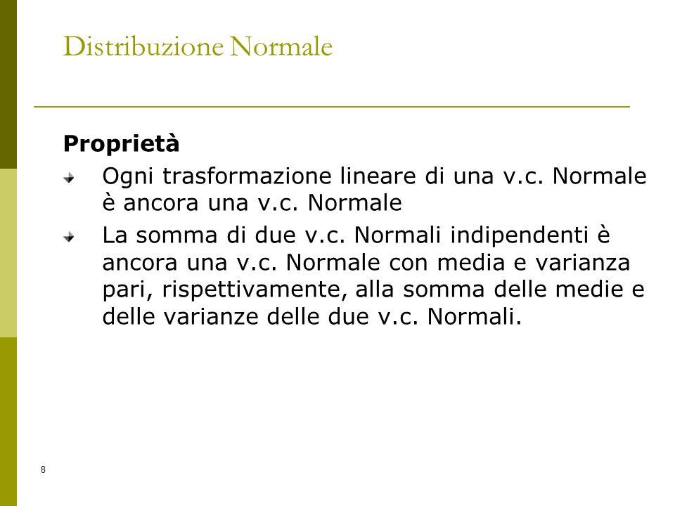 8 Distribuzione Normale Proprietà Ogni trasformazione lineare di una v.c. Normale è ancora una v.c. Normale La somma di due v.c. Normali indipendenti