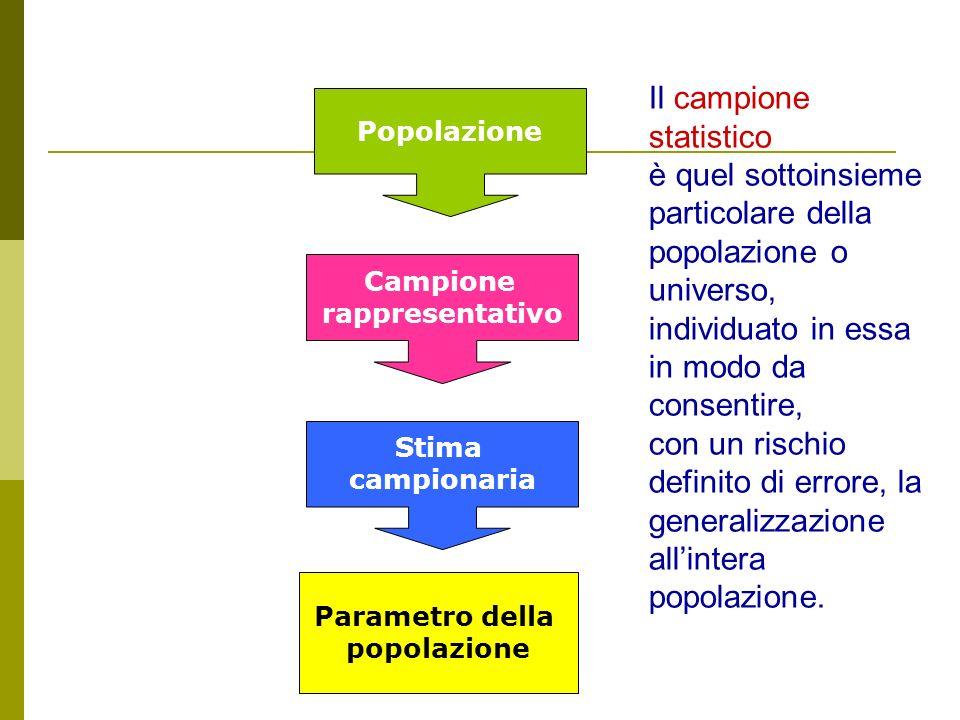 Popolazione Campione rappresentativo Stima campionaria Parametro della popolazione Il campione statistico è quel sottoinsieme particolare della popola
