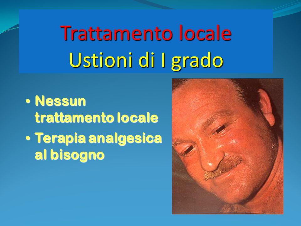 Trattamento locale Ustioni di I grado Nessun trattamento locale Nessun trattamento locale Terapia analgesica al bisogno Terapia analgesica al bisogno