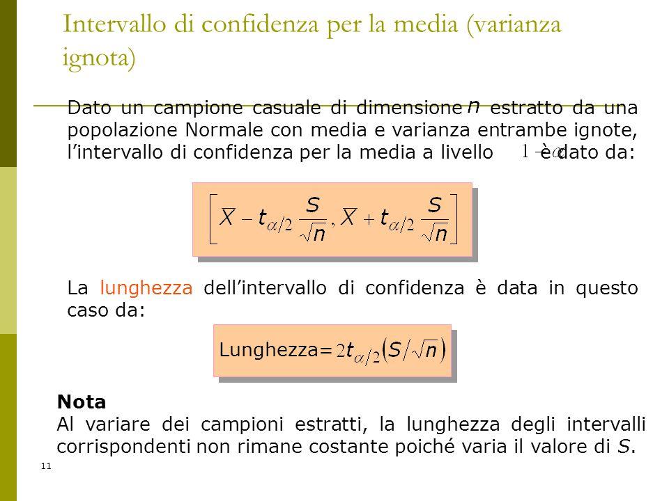 11 Intervallo di confidenza per la media (varianza ignota) Dato un campione casuale di dimensione estratto da una popolazione Normale con media e vari
