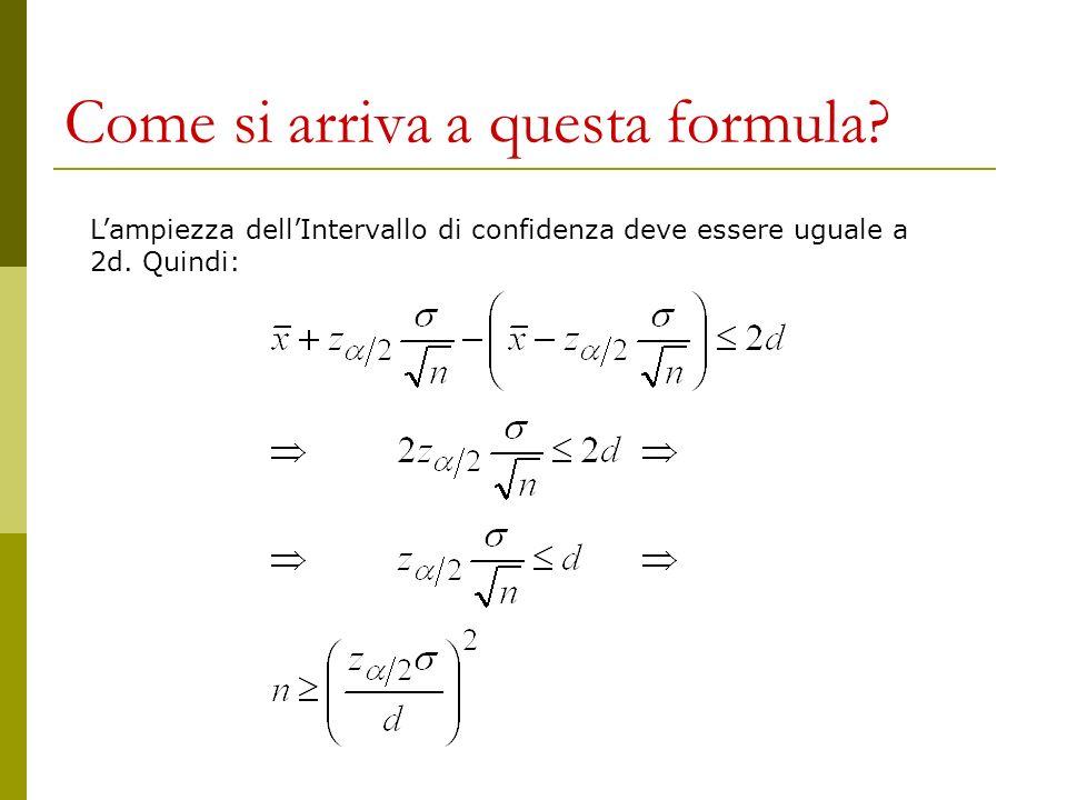 Come si arriva a questa formula? Lampiezza dellIntervallo di confidenza deve essere uguale a 2d. Quindi: