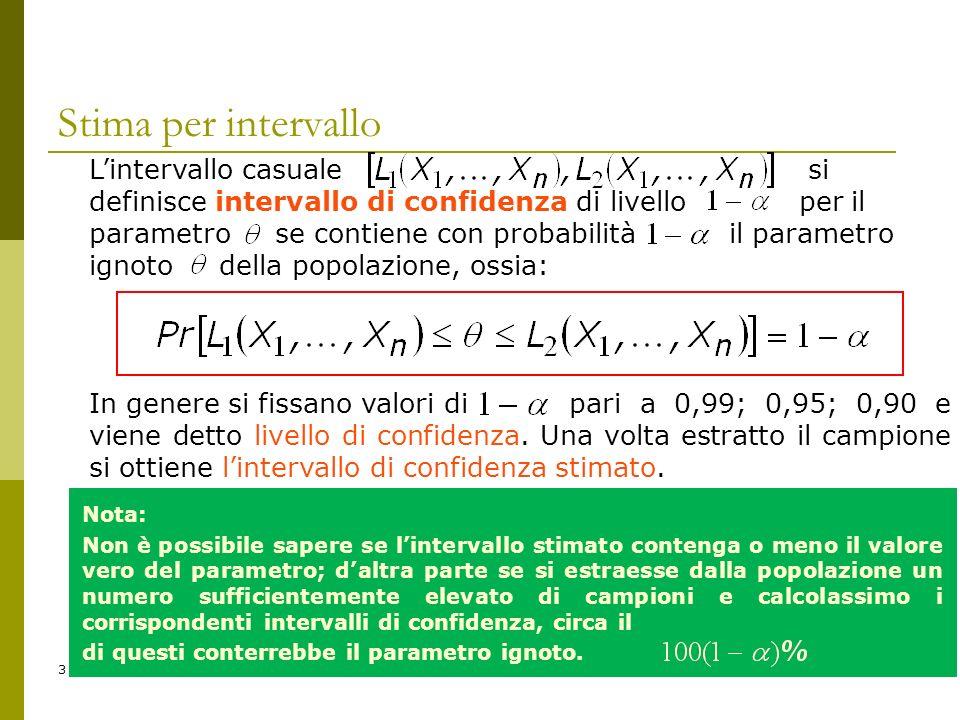 3 Lintervallo casuale si definisce intervallo di confidenza di livello per il parametro se contiene con probabilità il parametro ignoto della popolazi