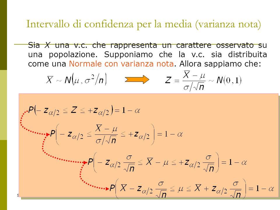5 Intervallo di confidenza per la media (varianza nota) Sia X una v.c. che rappresenta un carattere osservato su una popolazione. Supponiamo che la v.