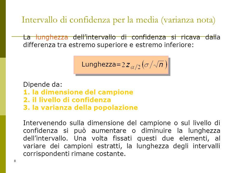 8 Intervallo di confidenza per la media (varianza nota) La lunghezza dellintervallo di confidenza si ricava dalla differenza tra estremo superiore e e