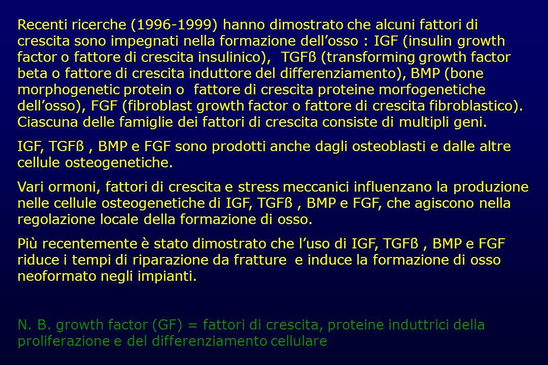 Recenti ricerche (1996-1999) hanno dimostrato che alcuni fattori di crescita sono impegnati nella formazione dellosso : IGF (insulin growth factor o f