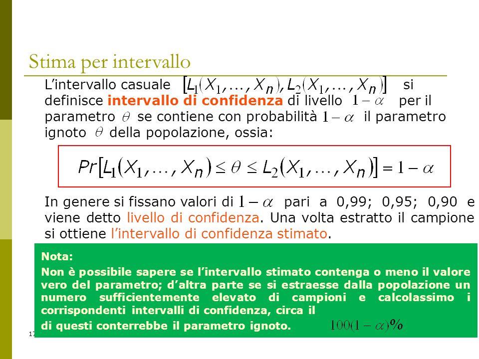 17 Stima per intervallo Lintervallo casuale si definisce intervallo di confidenza di livello per il parametro se contiene con probabilità il parametro